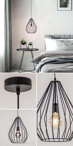 Met deze zwarte draad hanglamp maakt u uw Scandinavische interieur helemaal af! De grote korf past mooi boven een ronde eettafel of per twee bij een langwerpige tafel. De metalen korf is in een mooie mat zwart gespoten wat de lamp een moderne look geeft. Dit zorgt er tevens ook voor dat de draadlamp goed is te combineren met een industriële, landelijke of moderne woonstijl. #straluma #verlichting #hanglamp #scandinavisch #scandi #draadlamp Home Living Room, My House, Ceiling Lights, Modern, Home Decor, Homemade Home Decor, Living Room, Trendy Tree, Sitting Rooms