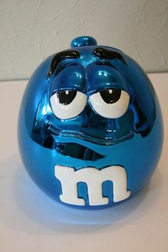 M&M M&M's Galerie 2003 Metallic Blue Cookie Candy Jar Canister with Lid