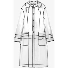 Miu Miu transparent black trim raincoat ($1,605) ❤ liked on Polyvore featuring outerwear, coats, transparent raincoat, long sheer coat, white coat, clear rain coats and white raincoat