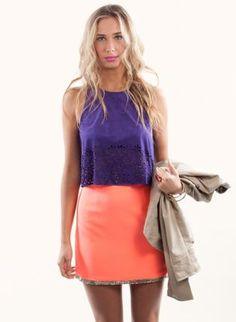 Bright Orange Neon Skirt with Sequin Trim,  Skirt, neon skirt  sequin, Chic