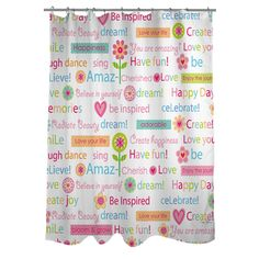 1 piece Kids Happy Day Words Theme Shower Curtain Best Wishes Blind Colorful Flowers Hearts Pattern Pink Purple Orange Green