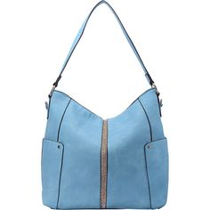 MKF Matilda Elegant Hobo - Blue - Hobos ($36) ❤ liked on Polyvore featuring bags, handbags, shoulder bags, blue, white hobo handbags, hobo shoulder bags, blue purse, vegan shoulder bags and faux leather purses