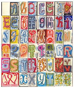 """Address book alphabet by Linzie Hunter, via Flickr. Wonderful hand-drawn lettering. """"...finally a use for unused christmas gifts"""""""