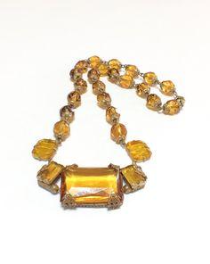 Art Deco Czech Glass Pendant Necklace Topaz by GracesVintageGarden #vogueteam
