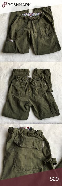 """Koi Army Green Nursing Pants size XS Preowned authentic Koi Nursing Pants Size XS. Drawstring pants with elastic band. Inseam is 29"""" inches. Rise is 8"""" inches. Waist is 17"""" inches stretched. Cuffs have drawstrings as well. Please look at pictures for better reference. Happy shopping! Koi Pants"""