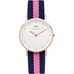 Daniel Wellington Women's Classy Rose Gold Plated Nato Fabric Strap... (14850 RSD) ❤ liked on Polyvore featuring jewelry, watches, accessories, pink wrist watch, navy blue jewelry, rose gold plated jewelry, navy jewelry and dial watches