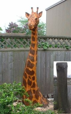 How fun would for the kids play area. what to do with the trees were cleaning up in that area. Now where to find a wood sculpter??Giraffe Tree Wood Carvings~
