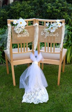 wedding chairs Better Together Burlap Chair Signs, Wedding Chair Signs, Rustic Wedding Decoration, Reception Decor Wedding Chair Signs, Church Wedding Decorations, Wedding Chairs, Diy Wedding, Rustic Wedding, Dream Wedding, Wedding Ideas, Burlap Signs, Rustic Signs