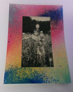 Rámeček na fotku vytvořený lihovými spreji (MEDIA INK SPRAY)