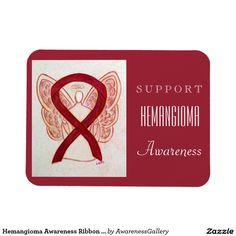 Hemangioma Awareness Burgundy Ribbon Angel Custom Magnet