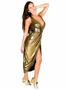 American Apparel The Siren Dress Medium Metallic Gold