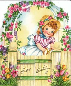 Vintage 1950s Happy Birthday Greetings Card