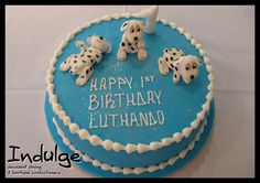 Boys Dalmations Cake - Sponge cake with sugar paste icing or butter icing and decorated with edible sugar paste figurines