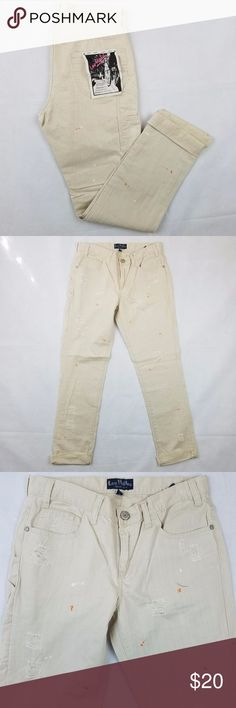 """Les Halles Womens 1988 Carpenter Boy Twill Pants Les Halles Womens 1988 Carpenter Boy Twill Pants - Cotton Destroyed   Details: Condition: New without tags Orange and white factory paint splatter throughout Size: 27 Waist, flat across: 14.5"""" Front rise: 9"""" Inseam: 28""""  Ships in 1 Business Day!  Thanks for viewing!  Please feel free to ask any questions. Les Halles Pants"""