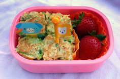 Kid's bento boxers -- Korean savory pancake with shrimp & veggies + strawberries