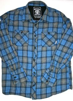 Vintage 90s Vans Blue and Gray Mens Plaid Shirt available at VintageMensGoods, $25.00