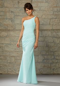 Long Luxe Chiffon One Shoulder Bridesmaid Dress with Drapes Designed by Madeline Gardner. Colors available: all Angelina Faccenda Bridemaids Luxe Chiffon colors.