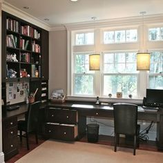 We have a row of windows, so this could also work.  Home Office Bookshelves Design, Pictures,Remodel, Decor and Ideas - page 6