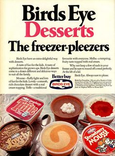 Birds Eye desserts - I used to love these desserts. If you timed it just right you could eat with just a little ice crystal . Worked particularly well with the chocolate desserts and trifles 1970s Childhood, My Childhood Memories, Childhood Toys, Sweet Memories, Retro Recipes, Vintage Recipes, Those Were The Days, The Good Old Days, Food And Drink