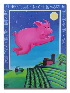 Pigs Fly by KristinEliseArtist on Etsy,