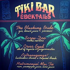 Tiki bar cocktail reception sign by http://missbcalligraphy.com/