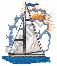 SAILBOAT WITH SUN embroidery design