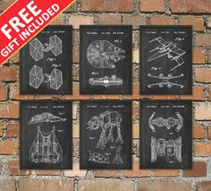 Star Wars FREE Gift Offer - Star Wars Patent Prints Set Of 6 Prints - Star Wars Millennium Falcon Science Fiction Decor - Bedroom Poster
