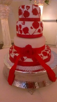 Red and White 15th Birthday Cake