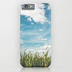 Green Field Blue Sky iPhone Case by staypositivedesign