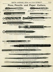 vintage pen pencil clipart, old fashioned writing instrument, black and white clip art, antique office supplies, old catalog page