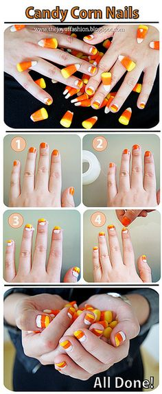 DIY Halloween: Candy Corn Nails tutorial -- Great Halloween craft or for a costume!