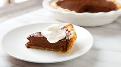 RIch and creamy chocolate pumpkin pie with just enough spice. In homemade pie crust, of course.