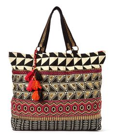 Loving this Black & Red Beaded Tote on #zulily! #zulilyfinds