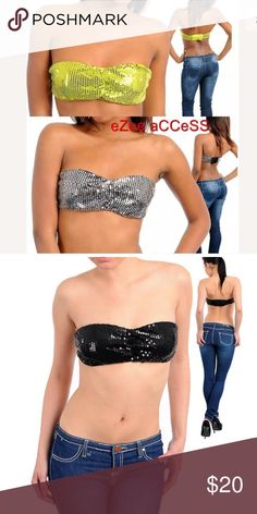 """Sequin bandeau bra strapless bra new sexy black SEXY & Comfy BRA TOP.its bandeau style with padded bust and fully linned. HAVING SQUINS ALL OVER IT.IT HAS  4"""" ELASTIC BAND AT THE BACK FOR COMFORT FIT. Intimates & Sleepwear Bras"""