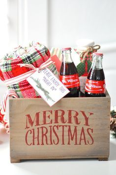"""Teacher gift idea for Christmas! FREE """"Night In"""" printable tags! Personalized Share a Coke bottles giveaway! On Kara's Party Ideas 
