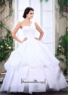 Adorable Satin & Organza Satin Ball gown One Shoulder Neckline Raised Waist Bridal Dress