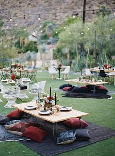 Wedding Themes - A Palm Springs desert wedding that completely breaks the mold with rich, moody colors, unique design moments (they were married under a teepee!) and a modern boho vibe that's a TOTAL breath of fresh a. Wedding Table, Wedding Decor, Wedding Events, Boho Wedding, Wedding Blog, Trendy Wedding, Wedding Picnic, Wedding Tips, Wedding Backyard