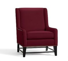 Berkeley Upholstered Armchair, Polyester Wrapped Cushions, Vintage Velvet Claret