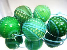 Moogin beads -mixed spring green lampwork bead set -SRA