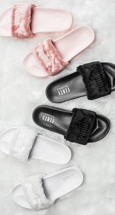 pinterest : @ hannahoteju ♡ The Rihanna x PUMA Fenty Fur Slider