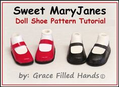Instant Download PDF Pattern with full detailed instruction tutorial & pictorial.  Adorable little NO SEW MaryJane shoes for Bratz dolls, Moxie,