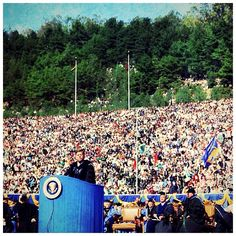 """President John F. Kennedy delivers address at Charter Day, March 23, 1962. In his address to a packed Memorial Stadium, President Kennedy spoke about his hopes for cooperation between the Soviet Union and the United States in space exploration and how such shared """"pursuit of knowledge"""" might bring a shared """"pursuit of peace."""" He also remarked that with so many members of his cabinet being Cal graduates, """"the New Frontier owes as much to Berkeley as it does to Harvard University."""""""
