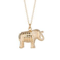 Anna Beck: Necklaces: Large Elephant Necklace - Gold