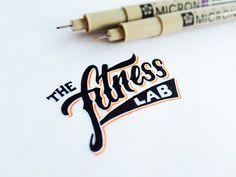 The Fitness Lab - lettering by Matt Vergotis Types Of Lettering, Lettering Design, Logo Design, Chalk Lettering, Script Lettering, Type Design, Design Art, Web Design, Inspiration Typographie