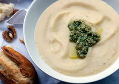 Roasted Parsnip Soup with Walnut Pesto