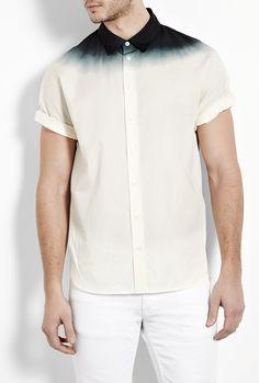 White Black Dip Dyed Short Sleeve Shirt by 3.1 Phillip Lim