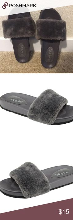 Grey fuzzy slippers Grey Slip Ons  A tiny paint stain on the right shoe Shoes Slippers