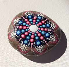 Mandala Henna Art Painted Stone - Adriatic - Gift - Decoration - Painted rock Art Beachstone Fairy Garden Rock dotart dotilism
