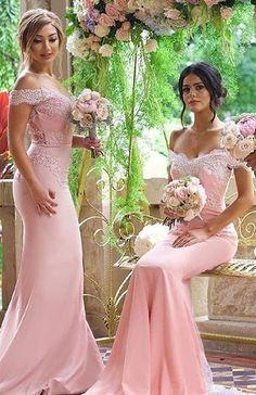 2016 Pink Mermaid Bridesmaid Dresses Off the Shoulder Lace Appliques Elegant Maid of the Honor D ...