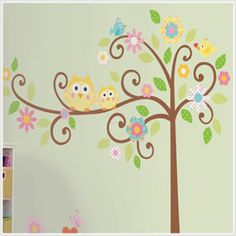 Kids owl wall mural